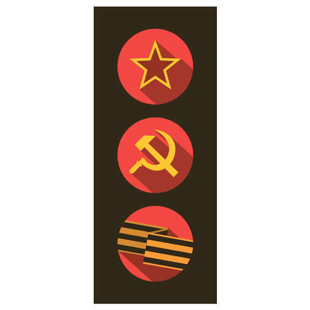 soviet union: Set of flat style icons of Soviet Union signs. Vector illustration.
