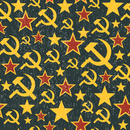 soviet union: Soviet Union signs pattern. Seamless background in vector.