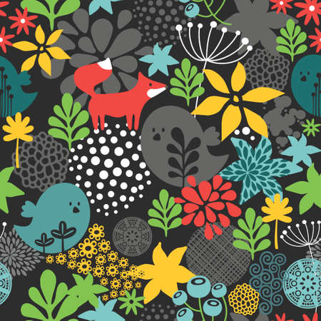 northern: Seamless pattern with cute birds and small fox. Vector illustration.