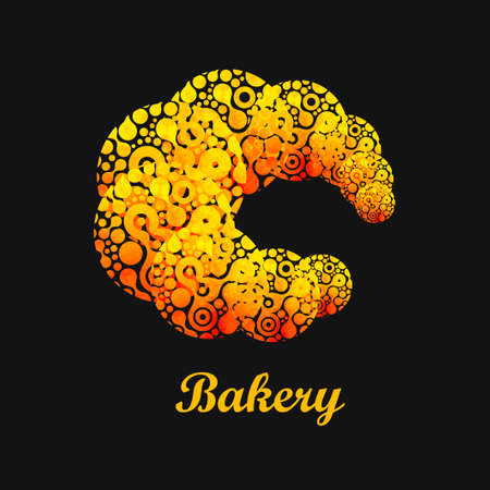 buttered: Croissant abstract. Vector illustration of tasty food.