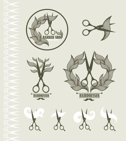 tijeras: Conjunto de etiquetas de la vendimia para peluquería y barbería con unas tijeras. Ilustración del vector.