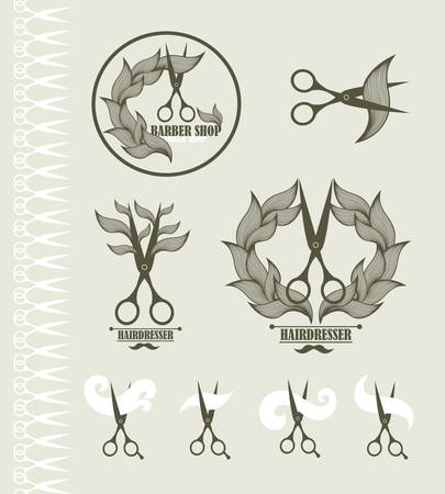 scissors hair: Set of vintage labels for hairdresser and barber with scissors. Vector illustration.