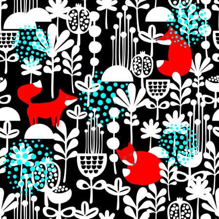 dark forest: Fox in winter forest seamless pattern. Vector illustration on dark background. Illustration