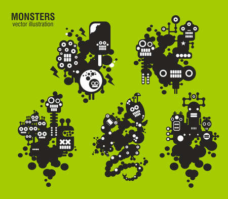 vector cartoons: Set of monster illustrations in cute style. Vector cartoons.
