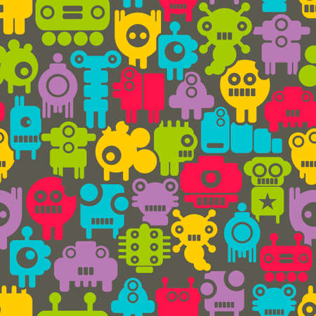 mini: Seamless pattern with mini monsters Vector colorful texture with nanobots. Illustration