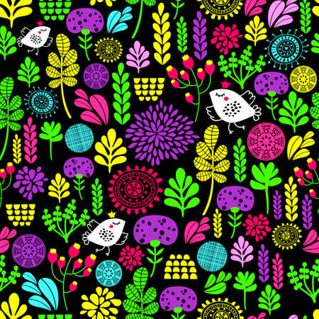 Romantic seamless pattern with cute flowers and birds in crown. Colorful vector background.