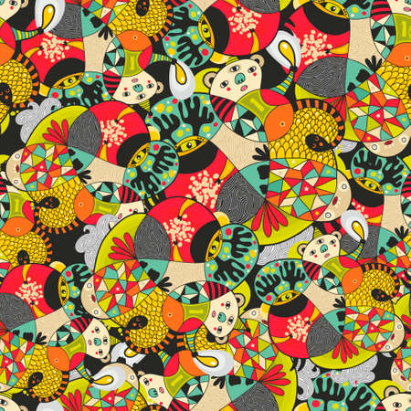human skin texture: Seamless pattern with cute monsters. Vector illustration in bright colors. Hand drawn.