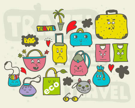 shopping bag: Set of doodle bags. Vector hand drawn  illustration.