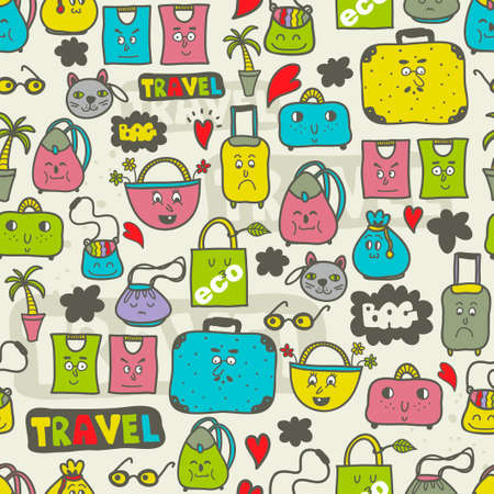 animal pattern: Seamless pattern of cute doodle style bags. Vector illustration.