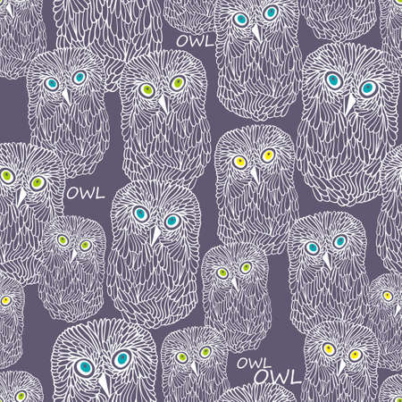 night owl: Seamless pattern with doodle night owl. Vector repeated background.