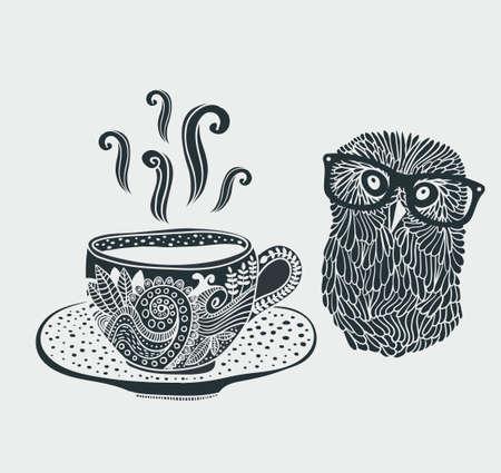 Retro illustration of cute hipster owl and decorative cup of tea. Ilustração