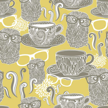 Seamless Pattern With Doodle Cups With Hot Drink And Hipster ...