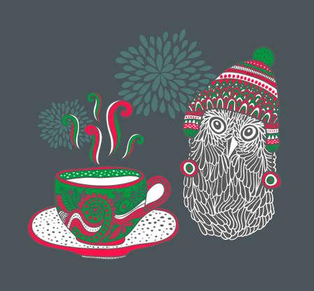 sombrero: El pequeño búho con una taza de té caliente. Ilustración del vector. Vectores