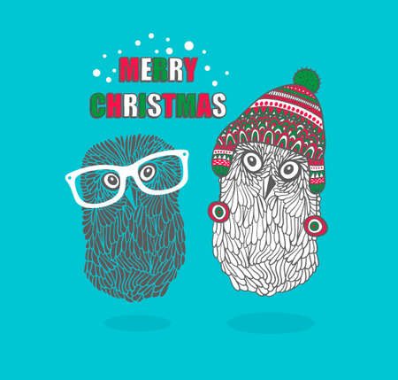 finland: Two hipster owls. Vector illustration and Merry Christmas card cover. Illustration