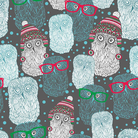 warm clothing: Seamless pattern with hand drawn owls in vintage hats and eyeglasses. Vector repeated background.