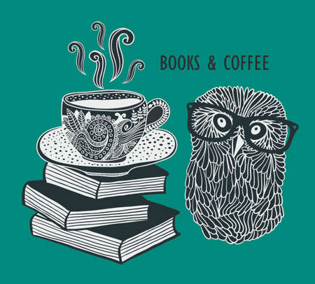 sketch book: Coffee and books with cute clever owl in eyeglasses. Vector doodle illustration in vintage style.