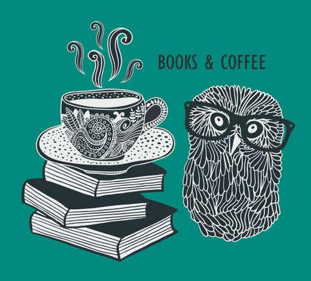 sowa: Kawa i książki z słodkie mądry sowa w okularach. Wektor doodle ilustracja w stylu vintage. Ilustracja