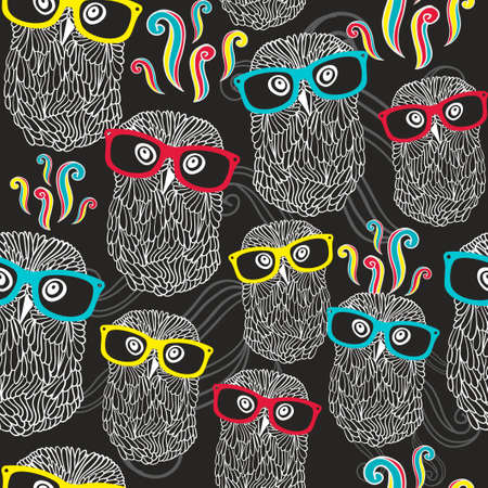 Night seamless pattern with disco owls in sunglasses. Vector party texture.