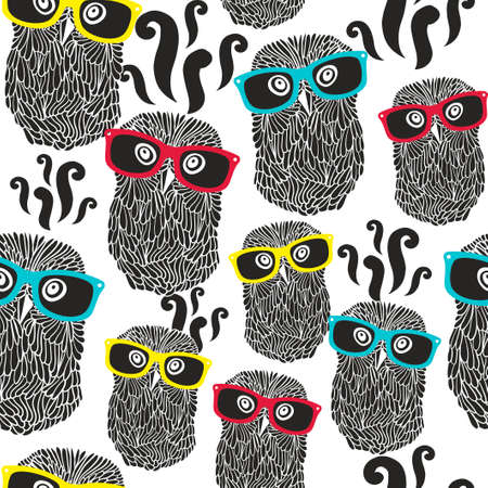 Seamless party pattern with happy owls in sunglasses. Vector repeated background.