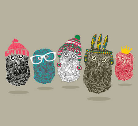 indian student: Fashionable print with group of owls for hipster t-shirt and more. Vintage vector illustration. Illustration