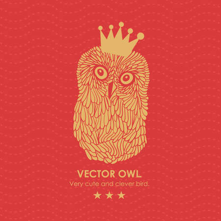 Print with cute and clever owl in crown. Vector illustration. Illustration