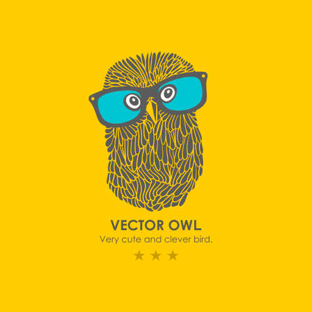 Print with cute and clever owl in glasses. Vector illustration.