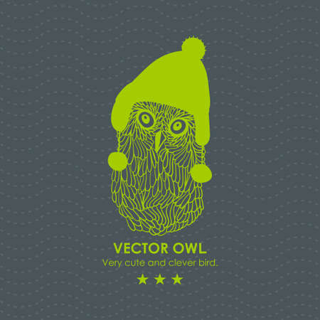 made in finland: Print with cute and clever owl in scandinavian hat. Vector illustration.