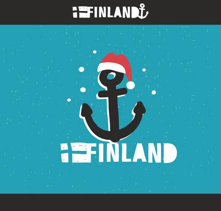 bateau: Embl�me de la Finlande avec la main l'image dessin�e dans le style vintage. Vector doodle illustration.