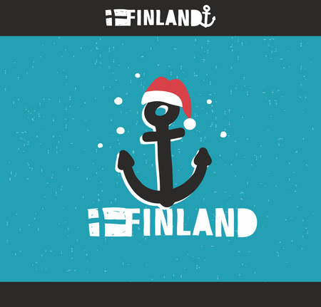 ship sign: Emblem of Finland with hand drawn image in vintage style. Vector doodle illustration. Illustration