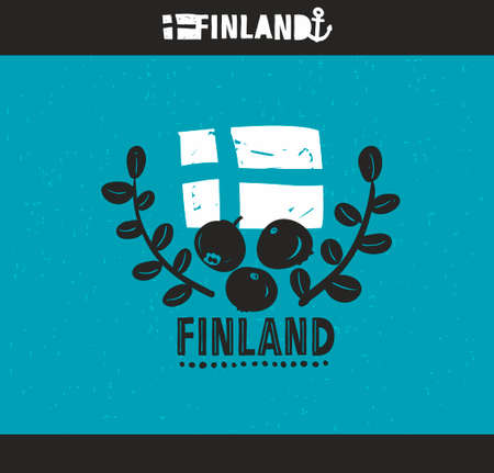 finland: Cool emblem of Finland with hand drawn image in vintage style. Country label print is good for souvenirs like t-shirt, tea mug and so on.