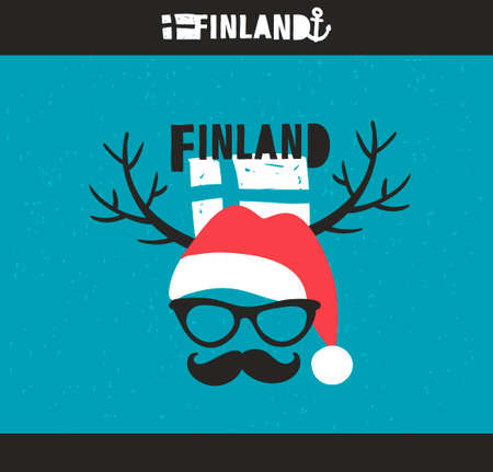 santa moose: Emblem of Finland with hand drawn image in vintage style. Vector doodle illustration. Illustration