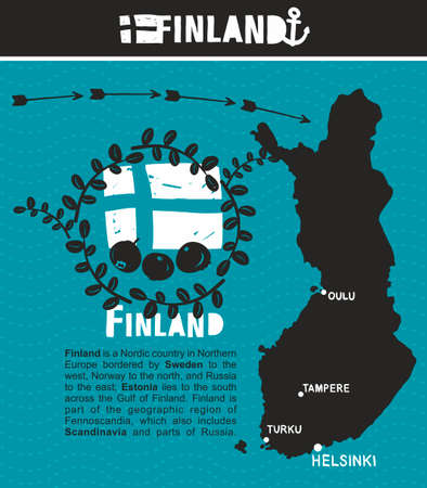 suomi: Map of Finland and emblem print. Vector illustration.