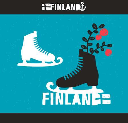 ice skates: Creative Finnish label. Vector emblem of scandinavian country Finland.