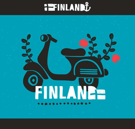 suomi: Creative Finnish label. Vector emblem of scandinavian country Finland.