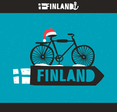 finland: Creative Finnish label. Vector emblem of scandinavian country Finland.