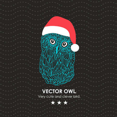 hat santa: Cute owl in santa hat. Vector illustration. Illustration