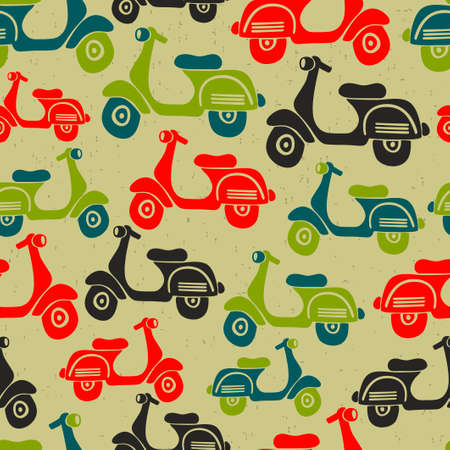 Seamless pattern with vintage scooters. Vector repeated background in retro style.