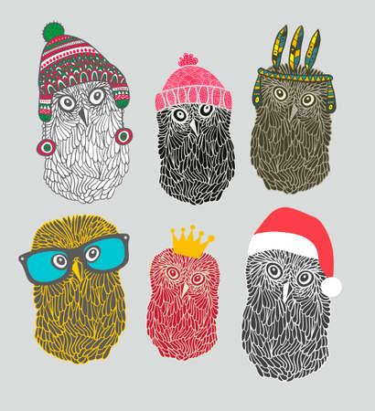 scandinavian people: Set of cute owls in costumes. Vector illustration. Illustration