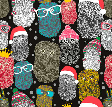 claus: Seamless pattern with party of owls. Vector repeated background with night birds in retro style.