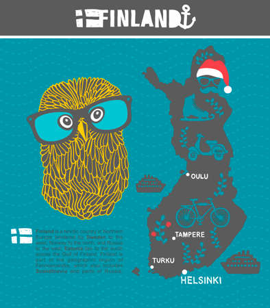 geographic: Creative geographic map of Finland - Scandinavian country and clever owl. Vector illustration. Illustration