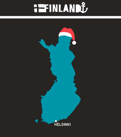 suomi: Creative geographic map of Finland - Scandinavian country. Vector illustration of Suomi.