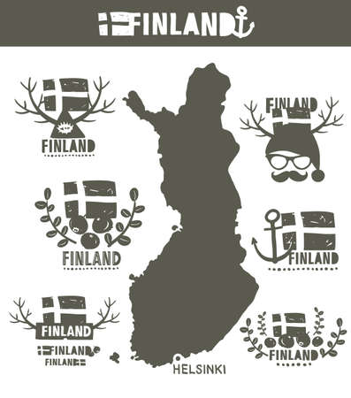 geographic: Creative geographic map of Finland - Scandinavian country. Vector set of Finnish labels. Illustration