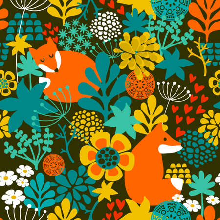 fox cartoon: SeamLess background with cute night fox in the autumn forest. Vector repeated pattern.