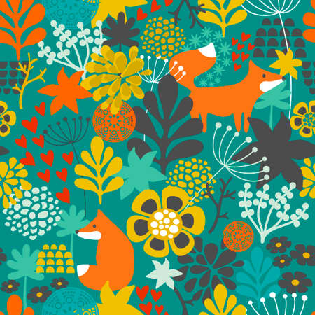 animal silhouettes: Seamless pattern with fox in the flowers of the forest. Vector repeated background.