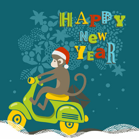 old new: Happy New Year illustration with cute monkey on the scooter. Vector creative design. Illustration