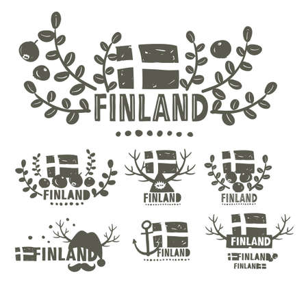 suomi: Collection of black and white labels of Finland. Creative vector illustrations. Illustration