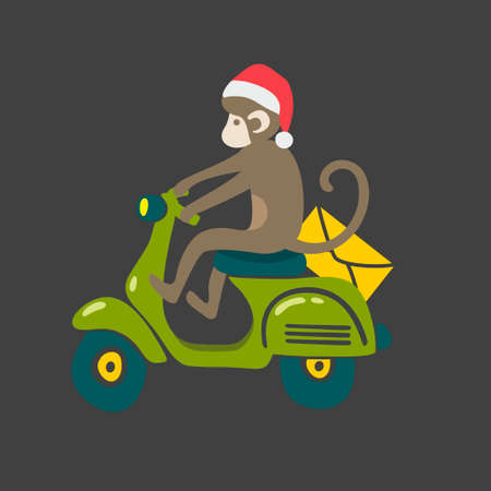 red animal: Monkey in red christmas hat on the vintage scooter. Animal drives transport. Vector isolated illustration on dark background.