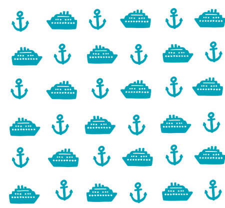 suomi: Simple pattern with anchors and ships. Vector seamless background. Illustration