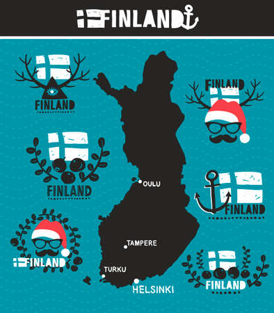 geographic: Creative geographic map of Finland. Vector collection of Finnish labels.