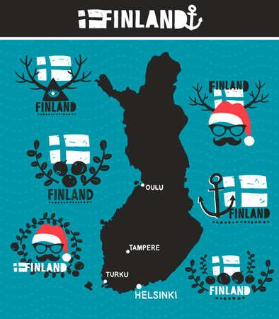 zeměpisný: Kreativní geografická mapa Finska. Vektorové kolekce finských etiket.